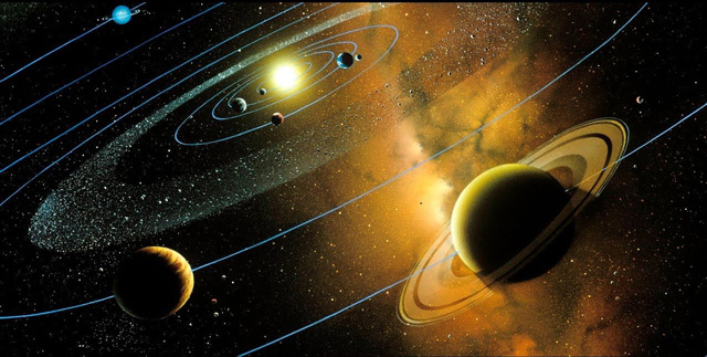 Sao thổ nằm ở vòng ngoài Hệ Mặt Trời