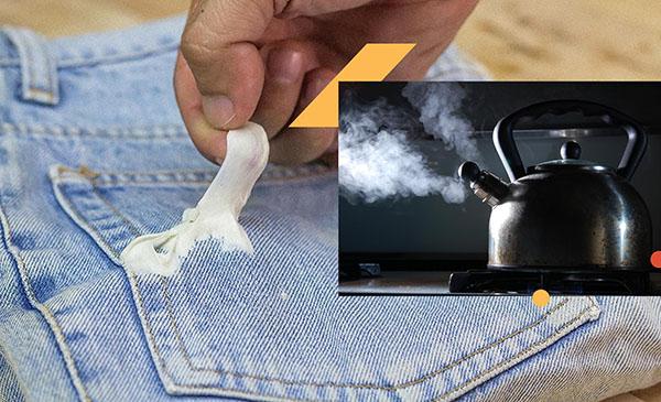 cách làm sạch kẹo cao su trên quần áo