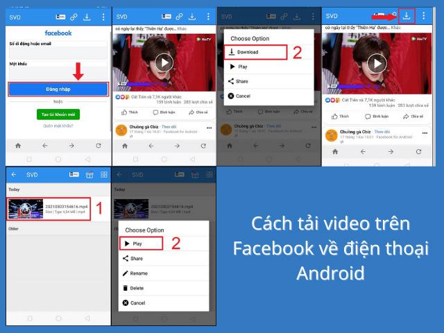 Dùng điện thoại điều hành Android để tải video từ Facebook