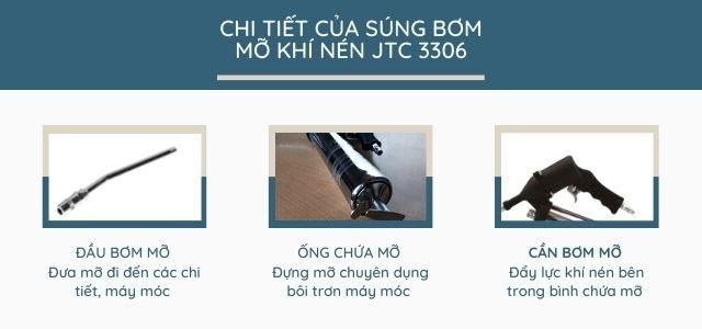 súng bơm mỡ sử dụng khí nén JTC-3306